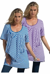 SOLD OUT! Purple or Blue Stripe Bow Tunic Plus Size Top