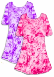 SALE! Lollipop Pink or Purple Tie Dye Plus Size & Supersize X-Long T-Shirt 0x 1x 2x 3x 4x 5x 6x 7x 8x