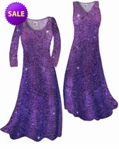 SOLD OUT! SALE! Purple Paisley Glitter Slinky Print Plus Size & Supersize Cascading A-Line Dresses 3x