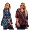 SALE! Purple or Blue Paisley Plus Size V-Neck Slinky Top 5x