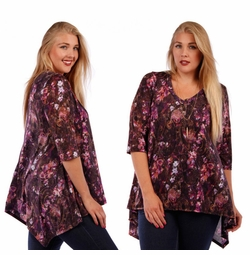 SOLD OUT! SALE! Purple Paisley Plus Size V-Neck Slinky Top 4x
