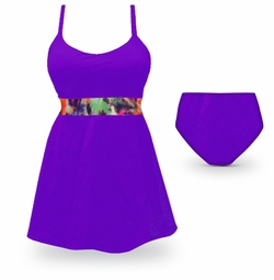 SOLD OUT! CLEARANCE! Purple Plus Size 2PC Swim Tank with Shelf Bra & Tie 0x