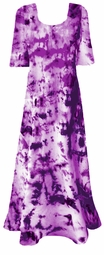FINAL CLEARANCE SALE! Purple Punch Princess Cut Plus Size & Supersize Tie Dye Maxi Dress 2x