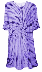 SOLD OUT! CLEARANCE! Purple Swirl on Light Blue Tie Dye Plus Size T-Shirt 6xl