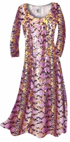 SOLD OUT! CLEARANCE! Purple With Gold Metallic Slinky Plus Size Supersize Dress 1x
