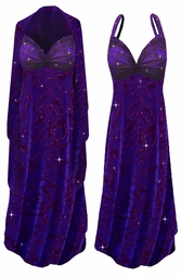 SOLD OUT! SALE! 2-Piece Purple Slinky w/ Hot Pink Glitter on Velvet Animal Stripes - Plus Size & SuperSize Princess Seam Dress 8x-Tall