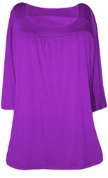 SOLD OUT!! SALE! Purple Yummy Soft Square Neck 3/4 Sleeves Plus Size Babydoll Top 1x