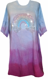 SOLD OUT! Rainbow Glittery Rhinestud on Ombre Magenta Blue Tie Dye Plus Size T-Shirts 6xl