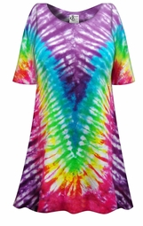 SALE! Rainbow V Tie Dye Plus Size & Supersize X-Long T-Shirt 0x 1x 2x 3x 4x 5x 6x 7x 8x