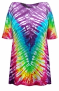 SALE! Rainbow V Tie Dye Plus Size T-Shirt XL 2x 3x 4x 5x 6x