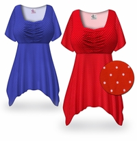 CLEARANCE! Plus Size White or Black w/Dots Babydoll Top 1x