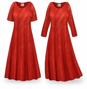 CLEARANCE! Red Glitter Slinky Print Plus Size & Supersize Dress LG