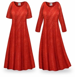 FINAL CLEARANCE SALE! Red Glitter Slinky Print Plus Size & Supersize Dress LG