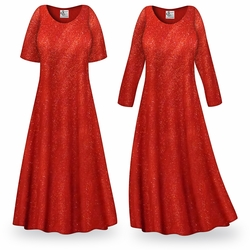 CLEARANCE! Red Glitter Slinky Plus Size & Supersize Dress LG