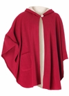 SOLD OUT! Red Hooded Cape-Style Microfleece Plus Size Robe