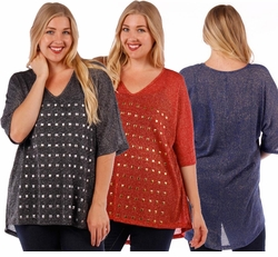 CLEARANCE SALE! Red, Royal Blue, or Black Studded Plus Size Lurex Top 4x 5x