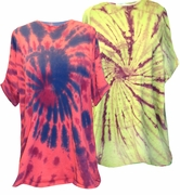 CLEARANCE! Green, Red or Yellow Swirl Tie Dye Plus Size T-Shirts 4xl 5xl