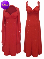 SOLD OUT! Red w/Red Hearts Glitter Slinky 2 Piece Plus Size SuperSize Princess Seam Dress Set  3x
