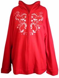 SOLD OUT! SALE! Red & White Embroidered Plus Size Hooded Zippered Sweatshirt Hoodie 26/28 30/32 3x 26w 28w