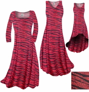 SALE! Red With Black Zebra Stripes With Dots Slinky Print Plus Size & Supersize A-Line Dresses & Skirts 7x