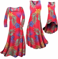 CLEARANCE! Red With Blue Tropical Flowers Print Slinky Plus Size & Supersize Dresses 0x