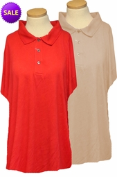 SOLD OUT! SALE! Red Ribbed Lines Polo Button Collar Short Sleeve Plus Size Top 6XL