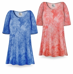 SOLD OUT! SALE! Ribbed Tie Dye Print Print Plus Size & Supersize Extra Long T-Shirts 3x 5x