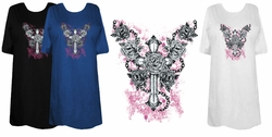 SOLD OUT! Roses and Cross Tattoo Plus Size & Supersize T-Shirts 6x Black Supersize