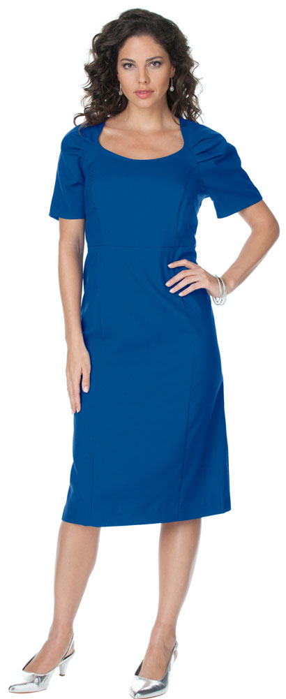 Sale Royal Blue Cap Sleeve Color Mix Sheath Plus Size Dress 5x34