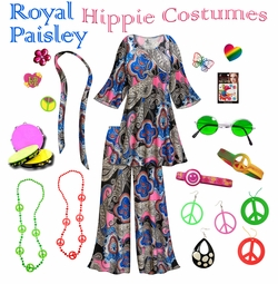 SOLD OUT! SALE! Royal Paisley Print Hippie 2PC Set - 60�s Style Retro Plus Size & Supersize Halloween Costume Kit Lg XL 0x 1x 2x 3x 4x 5x 6x 7x 8x 9x