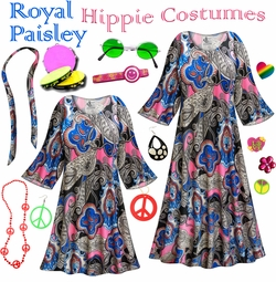 SOLD OUT! SALE! Royal Paisley Print Hippie Dress - 60�s Style Retro Plus Size & Supersize Halloween Costume Kit Lg XL 0x 1x 2x 3x 4x 5x 6x 7x 8x 9x