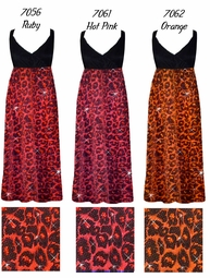 CLEARANCE! Hot Pink Glitter Leopard Glimmer Plus Size Slinky Black Empire Waist Dress 3x