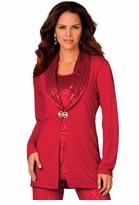 SALE! Ruby Red Sequined Sparkly Velour Plus Size Duster Jacket 4x 5x