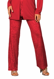 SOLD OUT! Ruby Red Sequined Sparkly Velour Plus Size Wide Leg Pants