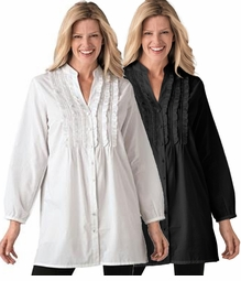 SOLD OUT! SALE! White or Black Ruffled and Pleated Plus Size Front Blouse 3x 4x