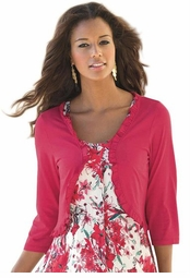 SOLD OUT! Ruffled Red Half Sleeve Plus Size Shrug 5x