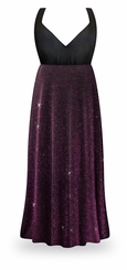 CLEARANCE! Purple Glimmer & Black Plus Size Empire Waist Dress 2x