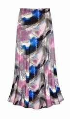 CLEARANCE! Natural Dry Brush/Cobalt Blue and Rose Slinky Print Plus Size Supersize Skirt 5x