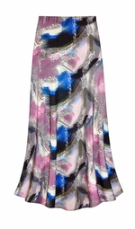 SOLD OUT! CLEARANCE! Natural Dry Brush/Cobalt Blue and Rose Slinky Print Plus Size Supersize Skirt 5x