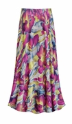 CLEARANCE! Purple & Lime Floral With Sparkles Slinky Print Plus Size Supersize Skirt 3x