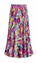 SOLD OUT! Purple & Lime Floral With Sparkles Slinky Print Plus Size Supersize Skirt
