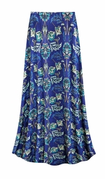 CLEARANCE! Blue Floral Slinky Print Plus Size Supersize Skirt 3x