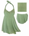CLEARANCE! Plus Size Sage Green Embossed Paisley Print Halter 2pc Swimsuit 1x