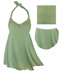 CLEARANCE! Sage Green Embossed Paisley Print Plus Size Shoulder Strap 2pc Swimsuit 1x