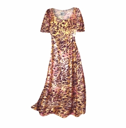 CLEARANCE! Salmon Red Ornate With Gold Metallic Slinky Plus Size Supersize Short Sleeve Dress 0x