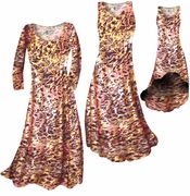 CLEARANCE! Salmon Red Ornate With Gold Metallic Slinky Plus Size & Supersize Square Neck Tank Shirt 6x