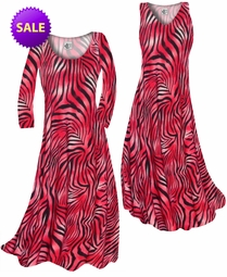 SOLD OUT! CLEARANCE! Scarlet Red Ombre Zebra Stripes Slinky Print Plus Size A-Line Dress 0x