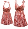 CLEARANCE! Plus Size Rusty Red Print Halter Swimsuit/SwimDress or Swim Shorts 4x 5x 6x