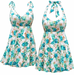 CLEARANCE! Plus Size White w/Blue Green Flowers Print Halter or Shoulder Strap Swimsuit/SwimDress 5x 7x
