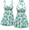 SOLD OUT! Plus Size White w/Blue Green Flowers Print Halter or Shoulder Strap Swimsuit/SwimDress